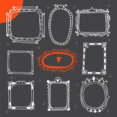 Vintage photo frames. Set of hand drawn vector design elements — Vetor de Stock