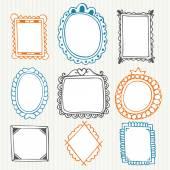 Vintage photo frames. Hand drawn collection — Vetor de Stock