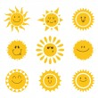 Vector set of sun icons. Collection of suns — Stock Vector #77242912