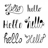 Hello in different style vector set. Hand drawn collection of He — Stock Vector