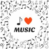 I love music. Hand drawn music background — Vecteur
