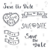 Save the date. Wedding invitation. Romantic set with hand drawn — Stock Vector