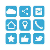 Social network icon set. Flat designs — Stock Vector