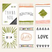 Set of vintage cards with romantic hand drawn textures. Collecti — Stock Vector