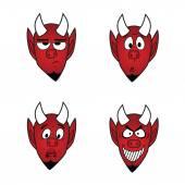 Devil smiles icon set, vector design elements 1 — Stock Vector