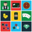 Colorful modern vector flat icons set. Quality design illustrations, elements and concepts for web and mobile apps. Gambling icons, casino icons, money icons etc. — Stock Vector #70956631