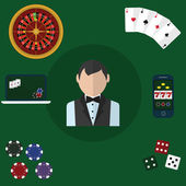 Colorful flat vector illustration concept. Quality flat design. Gambling icons, casino icons, poker icons. — Vettoriale Stock