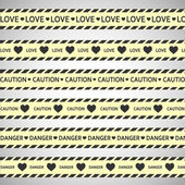 Simple vector warning tape love content on a gray — Stock Vector
