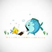 векторной графики eps рыбы море смешной мультфильм. — Cтоковый вектор