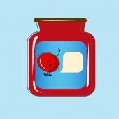 Bank with home canned cherry. Vector design — Vector de stock