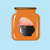 Glass jar with canning pork. Vector design — Stock Vector
