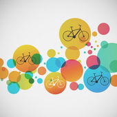 Conjunto de vetores de bicicleta sobre fundos coloridos — Vetor de Stock