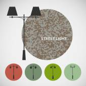 Set vintage street lights on colored backgrounds — Vector de stock