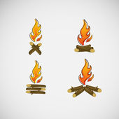 Fire, burning on the wood. Vector design — Stock Vector