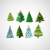 Set of vector trees on a light background — Stock Vector