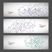 Vector set three sets of abstract contour lines — Stock Vector