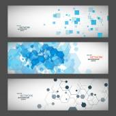 Three vector banner with abstract colored shapes — Stock Vector