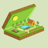 Vector piece of land and sky with objects — Stock Vector