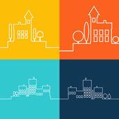 Color flat contours of the urban landscape — Stock Vector