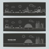 Set of banners with urban landscape — Stock Vector