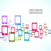 Colorful phones background — Stock Vector