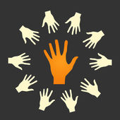 Flat icon hands. color abstraction — Stock Vector