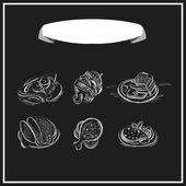 Meat menu chalked on a blackboard. — Stockvektor