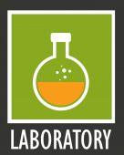 Icon laboratory flask with liquid — Vector de stock