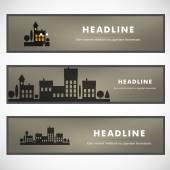Vector design of black silhouette cityscape eps — Stock Vector