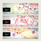 Set abstract modern pattern of hexagons circuits — ストックベクタ