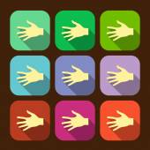 Set of vector flat icon hands eps — Stock Vector