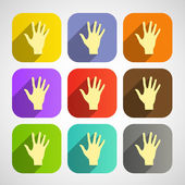 Set of vector flat icon hands eps — Stock Vector