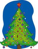 Christmas tree with decor — Vecteur