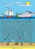 Ships Maze Game — Vector de stock