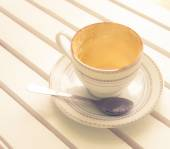 Empty cappuccino coffee in white cup on wood — Stockfoto