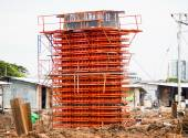 Iron construction to construct concrete pole — Stock Photo