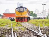 Vintage train engine on track — Zdjęcie stockowe