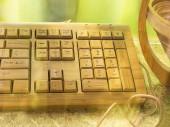 Computer keyboard made of bamboo — Stock Photo