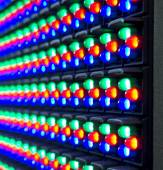 Red, green, blue of LED diod on panel  — Stock Photo