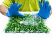 Incandescence light bulb on green grass  — Stock Photo