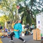 Постер, плакат: Balance of performer in Bangkok street show 2014