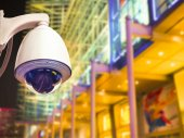 Cctv installed outdoor in front of the building — Stock Photo