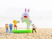 Cony posted outdoor with friends — Stock Photo