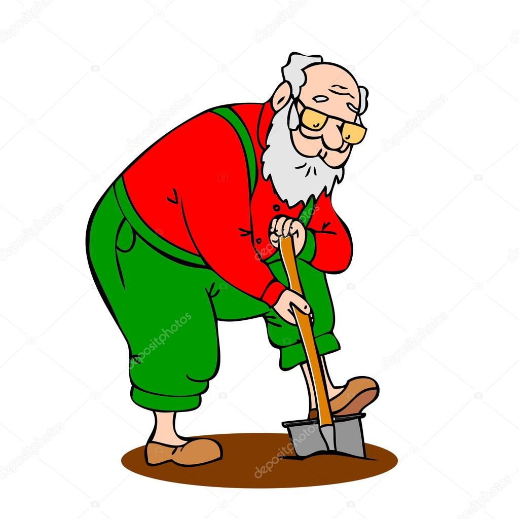 Gracioso hombre trabajando en el jardín. Abuelo con una ...