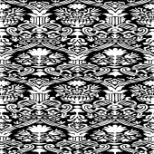 Black and white Seamless abstract hand-drawn floral pattern — 图库矢量图片