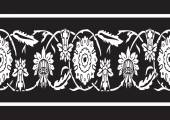 Black and white vintage border floral background seamless vector — Stock Vector