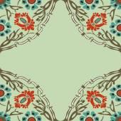 Colorido redondo floral fronteira canto abstrato vector — Vetor de Stock