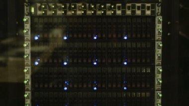 Blinking LEDs of server stack — Stock Video