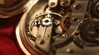 Old golden clock mechanism — Stock Video