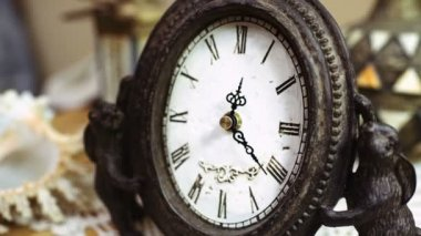 Time-lapse of antique clock with decorations — Stock Video